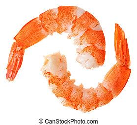 tigre, cuit, unshelled, deux, crevettes