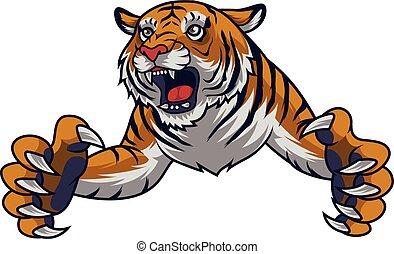 tigre, fâché, saut