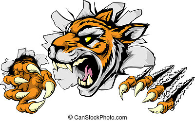 tigre, fâché, sports, mascotte