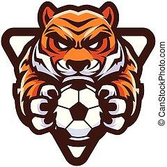 tigre, football football, mascotte