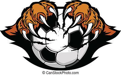 tigre, griffes, boule football, vecteur