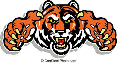 tigre, griffes, figure