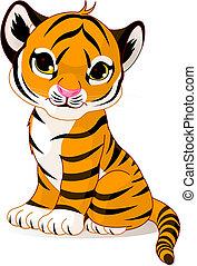 tigre, mignon, petit