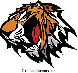 tigre, vecteur, mascotte, graphique