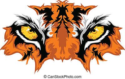 tigre, yeux, mascotte, graphique
