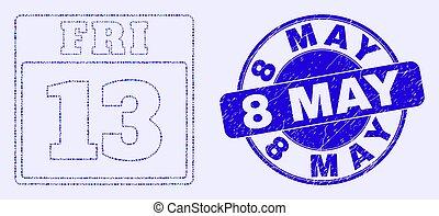 timbre, 8, vendredi, calendrier, bleu, mai, 13, page, gratté, mosaïque