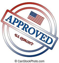 timbre, américain, qualité, approuvé