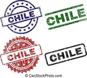 timbre, cachets, chili, textured, endommagé