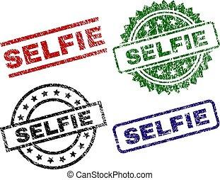 timbre, cachets, textured, selfie, endommagé