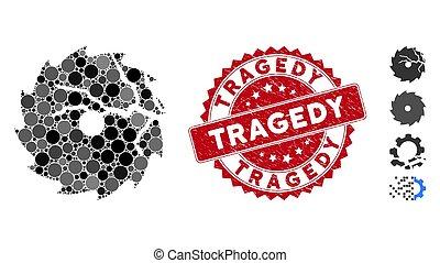 timbre, collage, icône, circulaire, endommagé, scie, tragédie, gratté