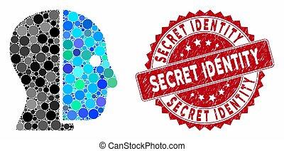 timbre, détresse, collage, identité, top secret, profil, caché