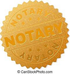 timbre, doré, récompense, notary