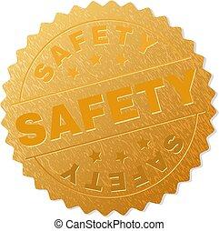 timbre, doré, sécurité, récompense