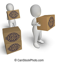 timbre, global, expédition, boîtes, exportation, distribution, spectacles