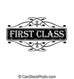 timbre, illustration, calligraphic, vecteur, étiquette, classe, premier