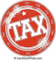 timbre, impôt, vecteur, grunge