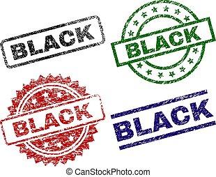 timbre, noir, cachets, textured, endommagé