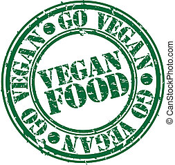 timbre nourriture, grunge, vegan, vec, caoutchouc
