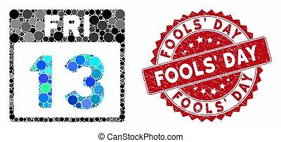 timbre, page, calendrier, 13, collage, fools', vendredi, gratté, jour