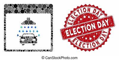 timbre, page, calendrier, collage, douche, élection, gratté, jour, automobile