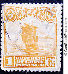 timbre postal, bateau, vieux, chinois