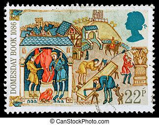 timbre postal, grande-bretagne, livre, domesday
