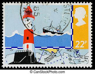 timbre postal, grande-bretagne, sécurité, mer