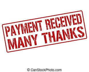 timbre, reçu, beaucoup, remerciement, paiement