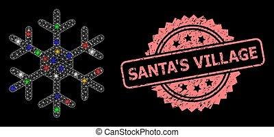 timbre, scintillement, village, cachet, textured, santa, flocon de neige, réseau, points