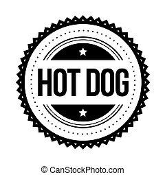 timbre, vendange, chaud, vecteur, chien