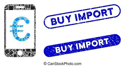 timbres, collage, mobile, paiement, euro, importation, achat, grunge, rectangle