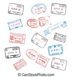 timbres, ensemble, divers, passeport, visa