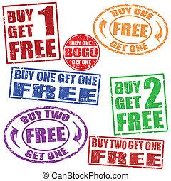 timbres, ensemble, vente, promotionnel