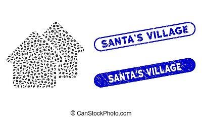 timbres, mosaïque, ovale, santa, village, grunge