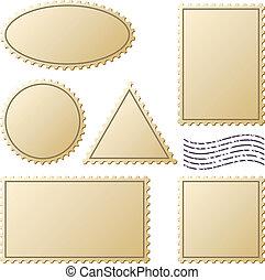 timbres-poste, vecteur, ensemble