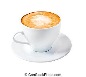 time., isolé, cappuccino, tard, café