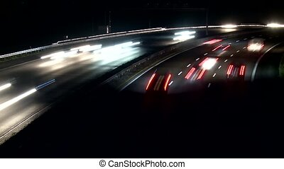 timelapse, autoroute, nuit
