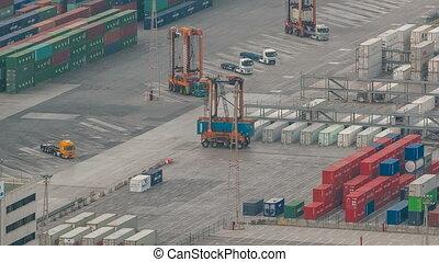 timelapse, cargaison, chargement, récipient, barcelone, terminal, mer, bateau, port, récipients, vue