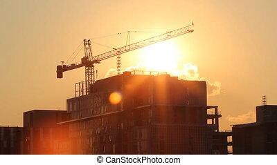timelapse., coucher soleil, crane.