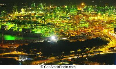 timelapse, nuit, port, singapour
