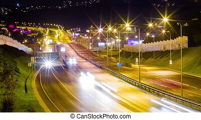 timelapse, nuit, route