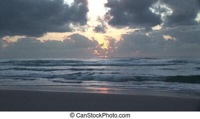 timelapse, plage, levers de soleil