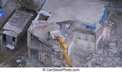 timelapse, site., utilisation, maison, détruire, construction, seau, vieux, excavateur