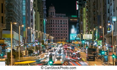 timelapse., via, madrid, gran, cityscape, crépuscule, espagne