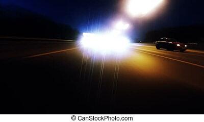 timelapse, vitesse, conduite, nuit