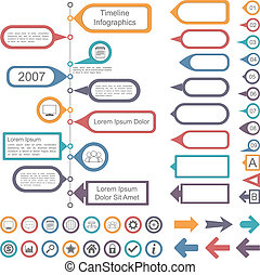 timeline, éléments, collection, infographics