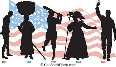 timeline, drapeau, noir, histoire