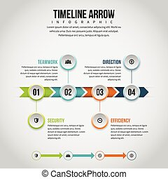 timeline, infographic, flèche