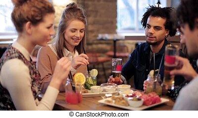 tintement, boissons, amis, barre, heureux