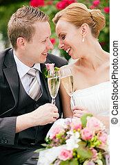 tintement, couple, champagne, mariage, lunettes